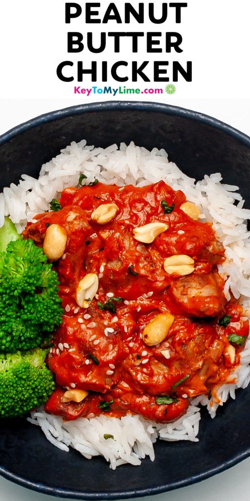 A Pinterest pin image of peanut butter chicken with title text.