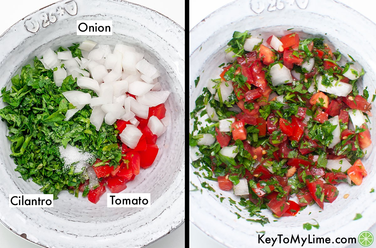 Pico de gallo before and after mixing.