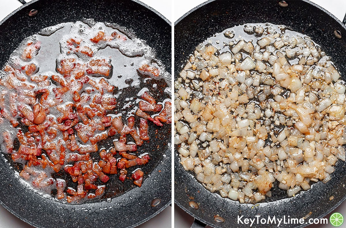 Images of sauteed bacon strips and sauteed chopped onion.
