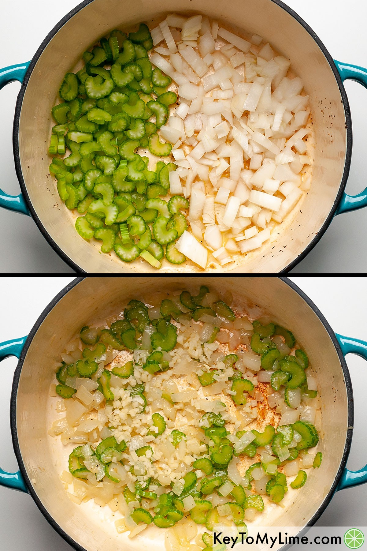 Chopped celery and onion in a Dutch oven before and after cooking.