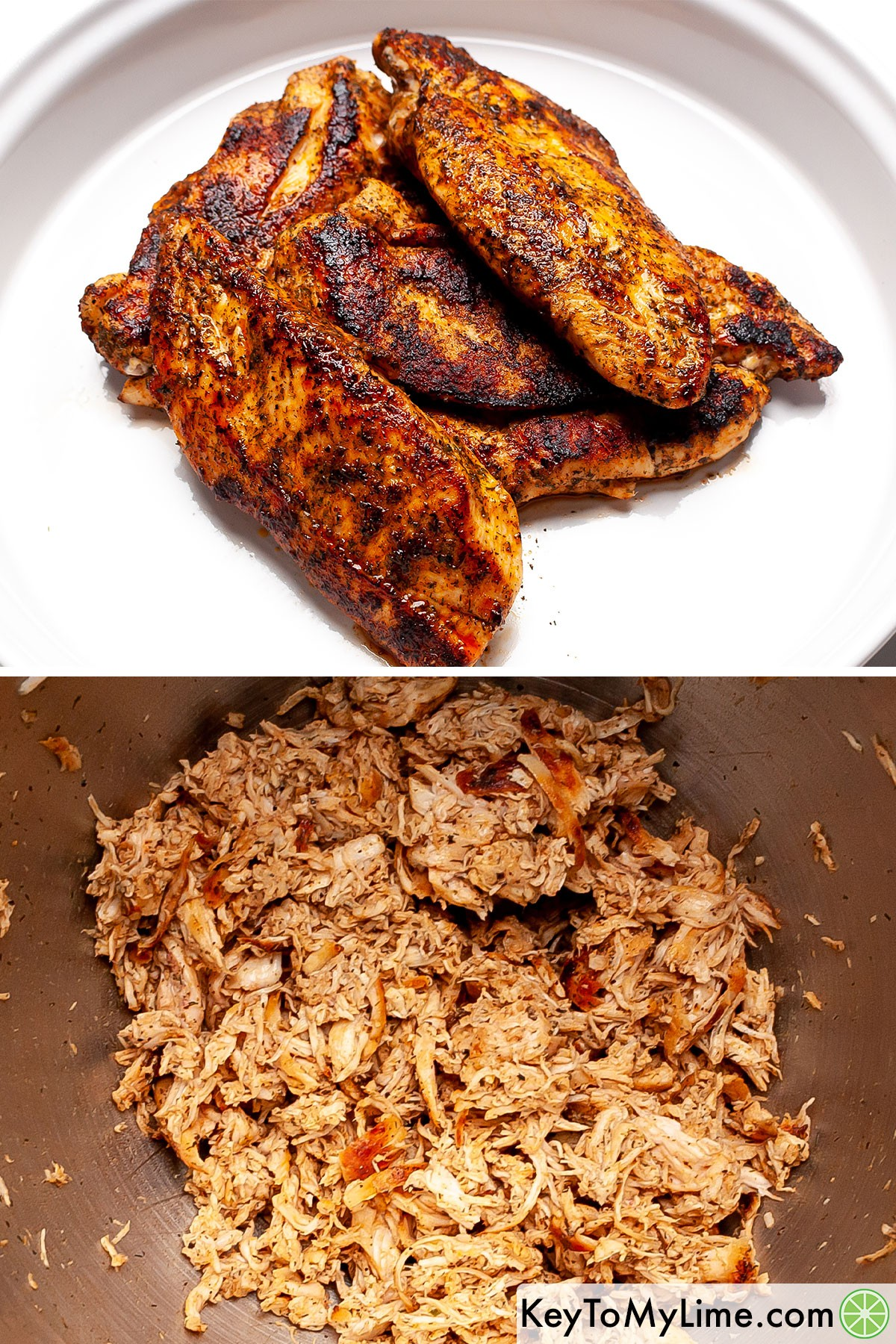 A process collage showing dill and paprika chicken before and after shredding it.