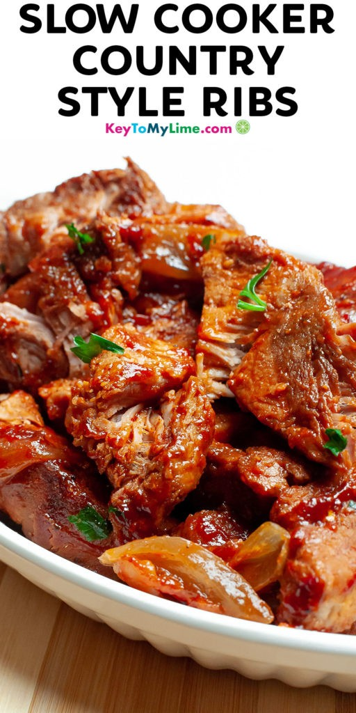 A Pinterest pin image of country style ribs with title text.