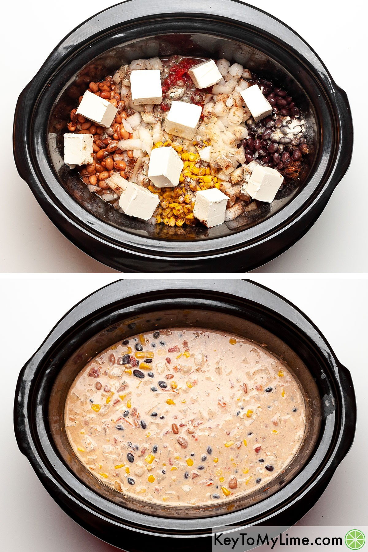 A process collage showing adding cream cheese to the chili ingredients, and then what it looks like after it cooks in the slow cooker.