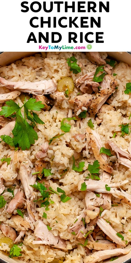A Pinterest pin image of Southern chicken and rice with title text.