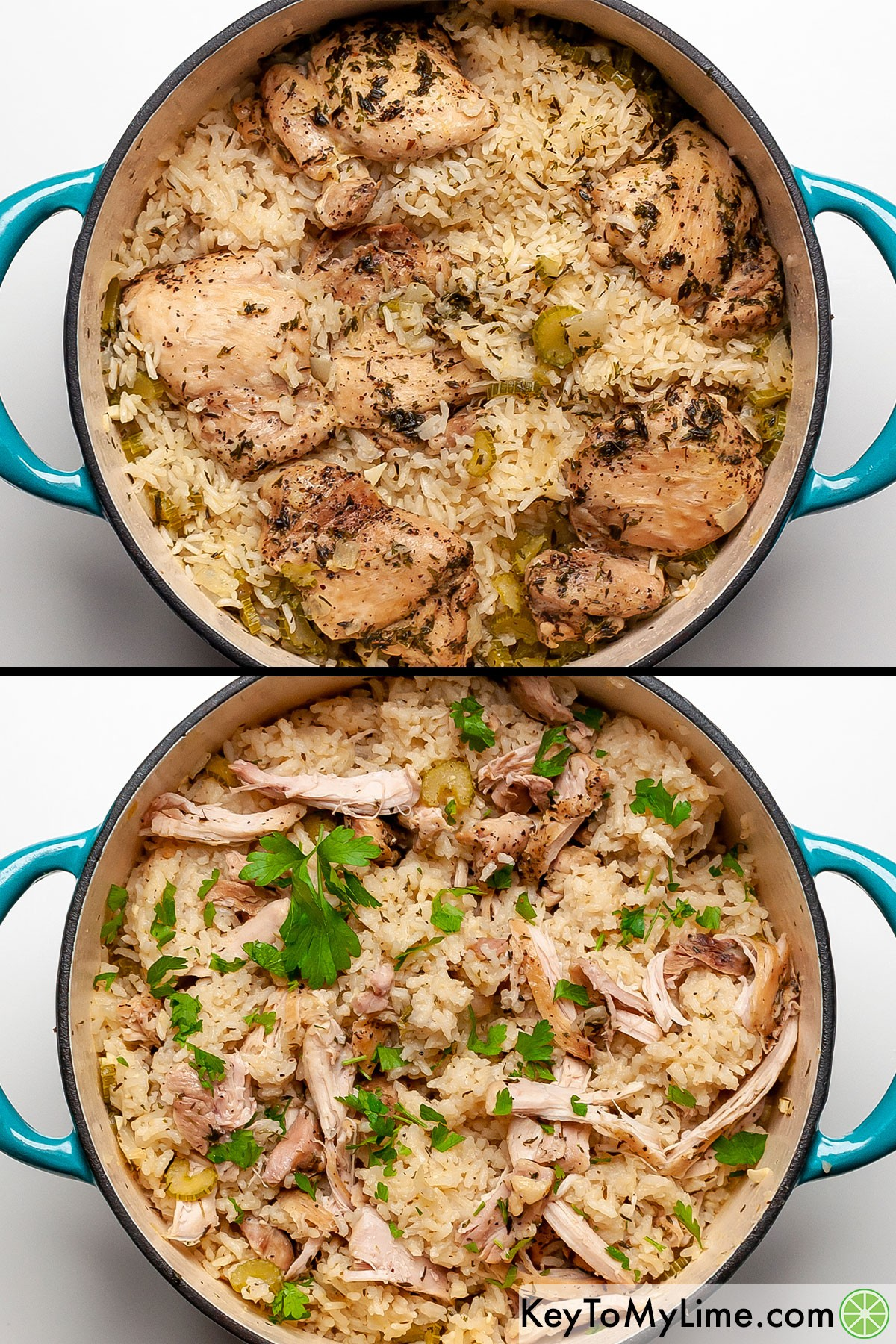 Chicken and rice before and after shredding the chicken and fluffing the rice.