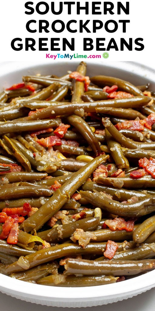 A Pinterest pin image of Southern Crockpot green beans with title text.