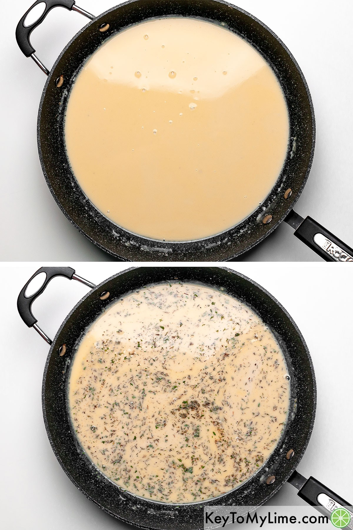 A process collage showing adding seasonings to a thick creamy sauce.