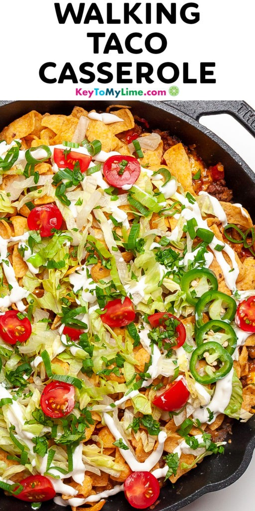A Pinterest pin image of walking taco casserole with title text.