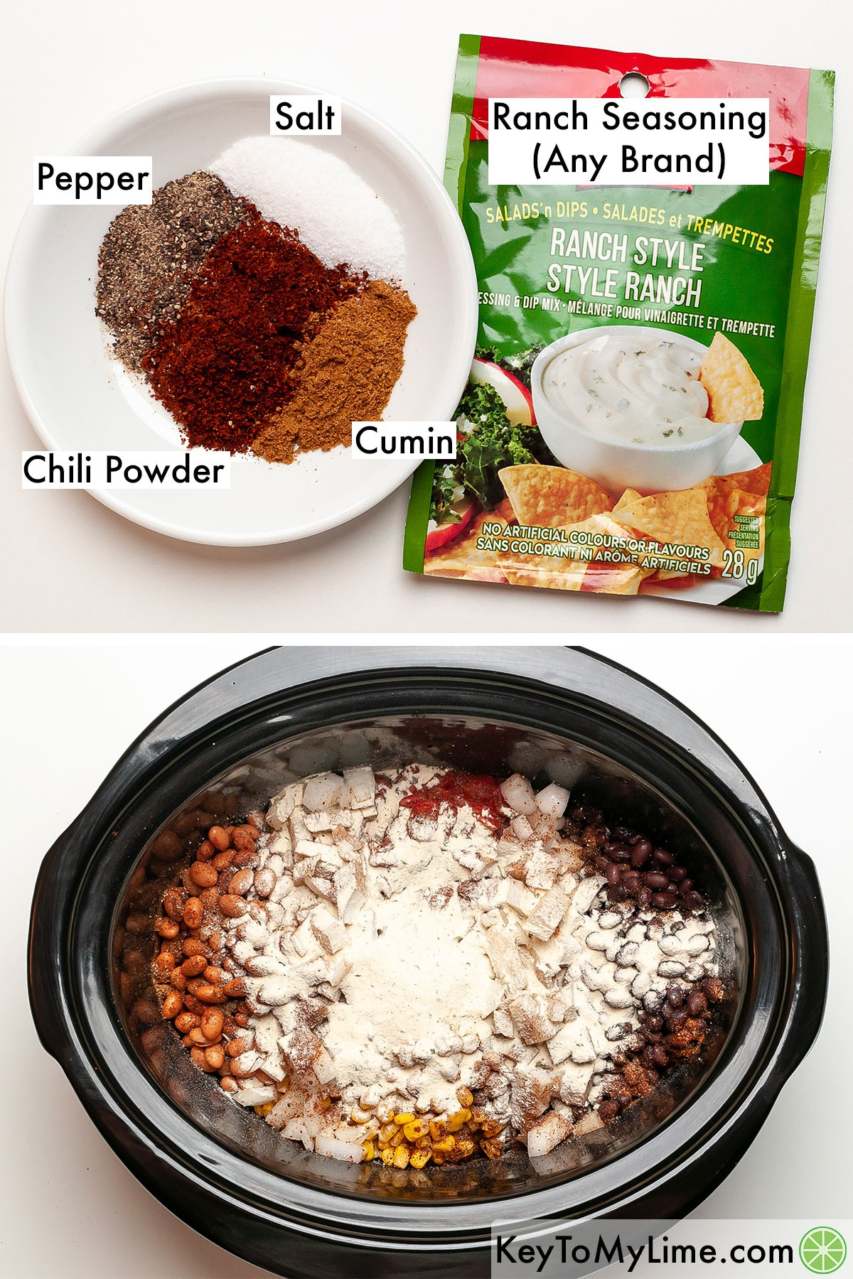 A process collage showing the labeled spices for cream cheese chicken chili, and then the spices added to the slow cooker.