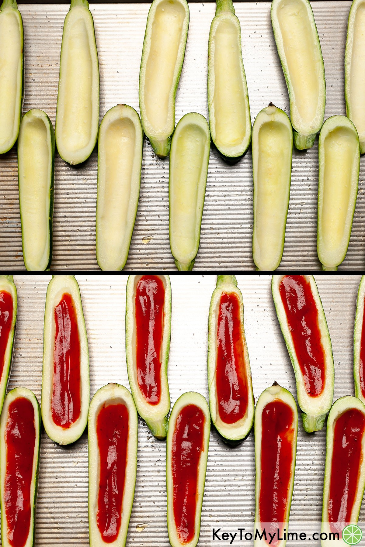 A process collage showing adding salt and pizza sauce to zucchini boats.