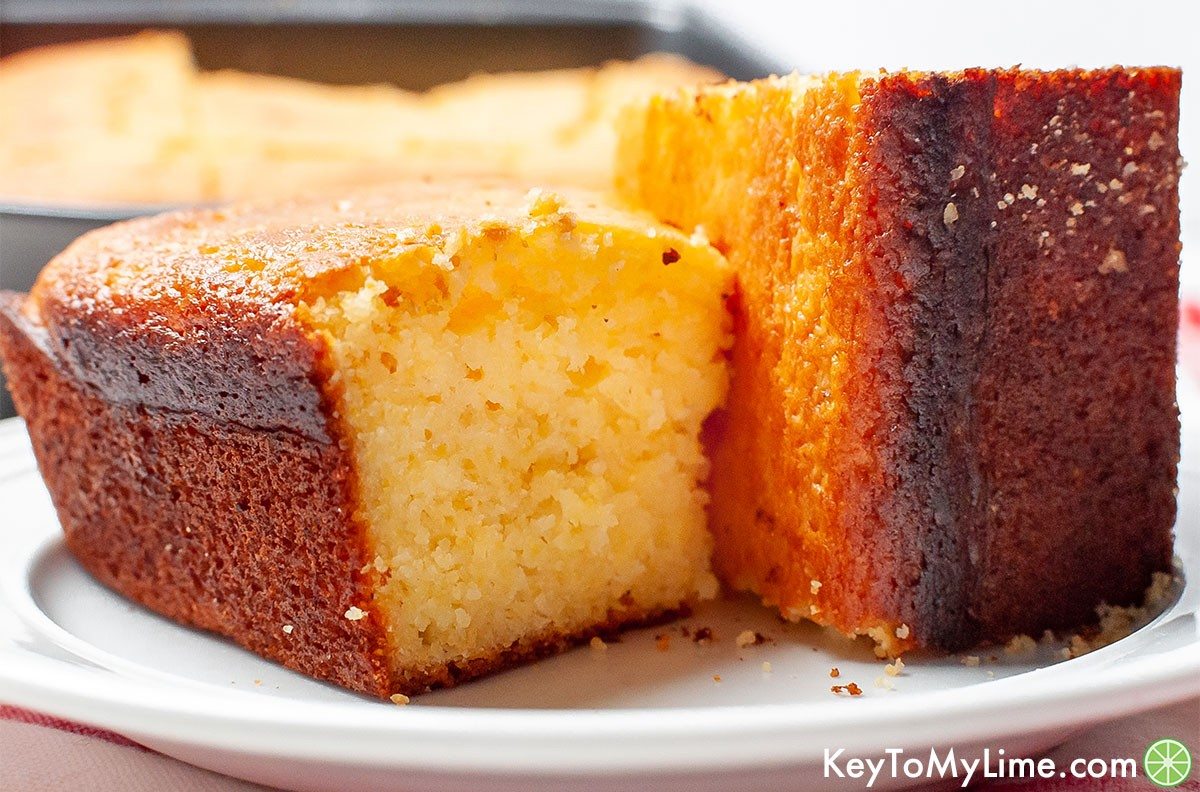 A close up image of pieces of Jiffy cornbread.