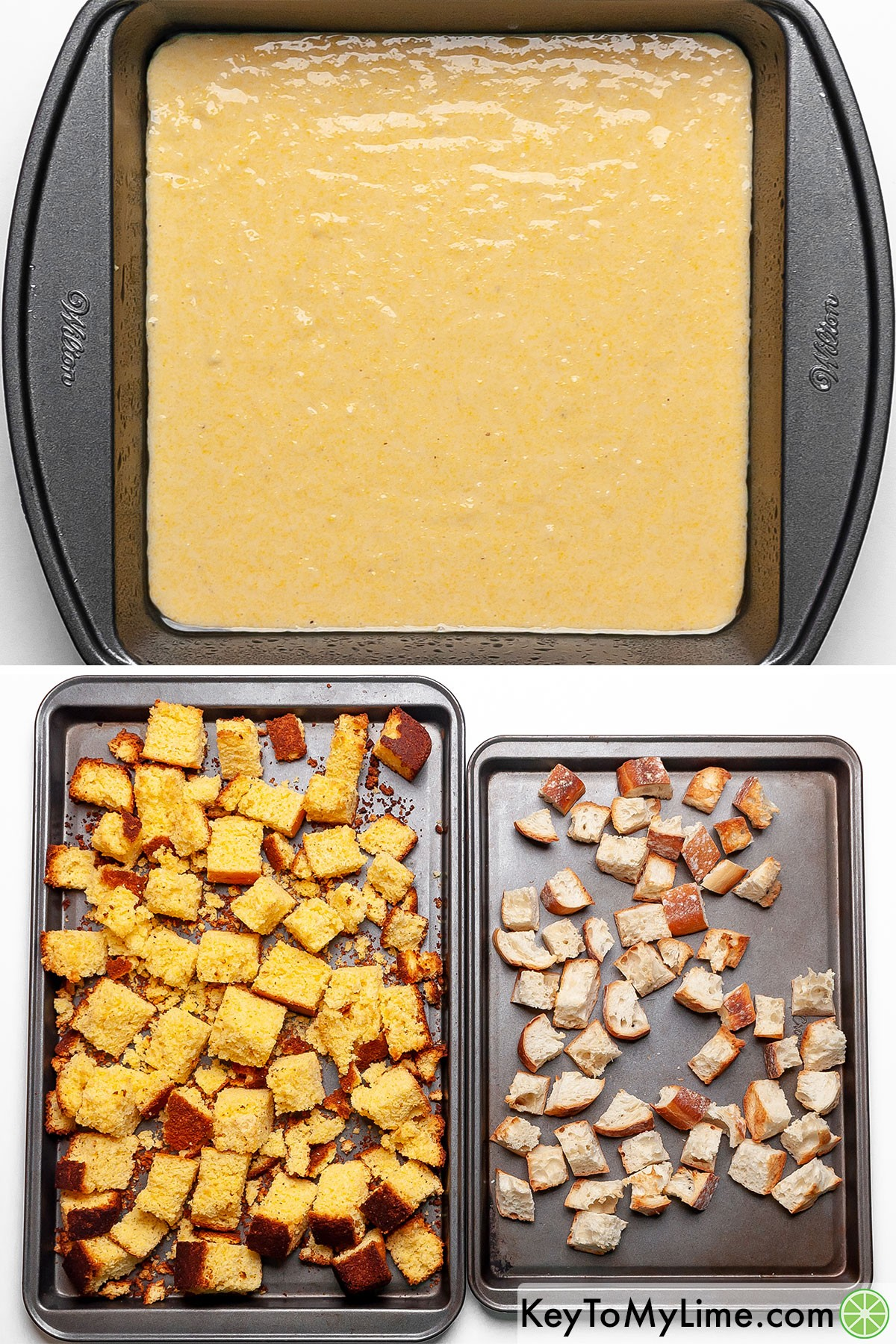 A process collage showing baking cornbread then toasting cornbread and baguette bread cubes.