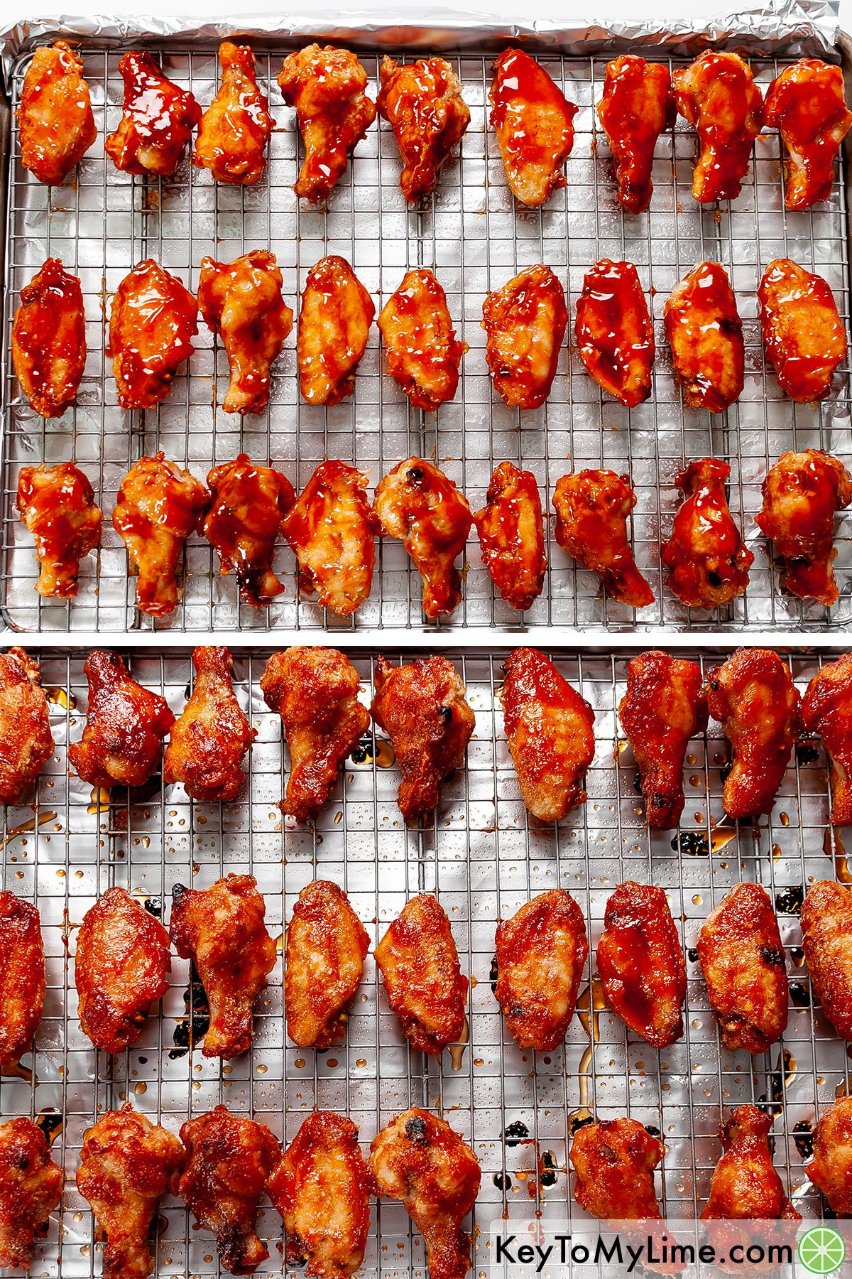 Sweet and sour chicken wings before and after baking.