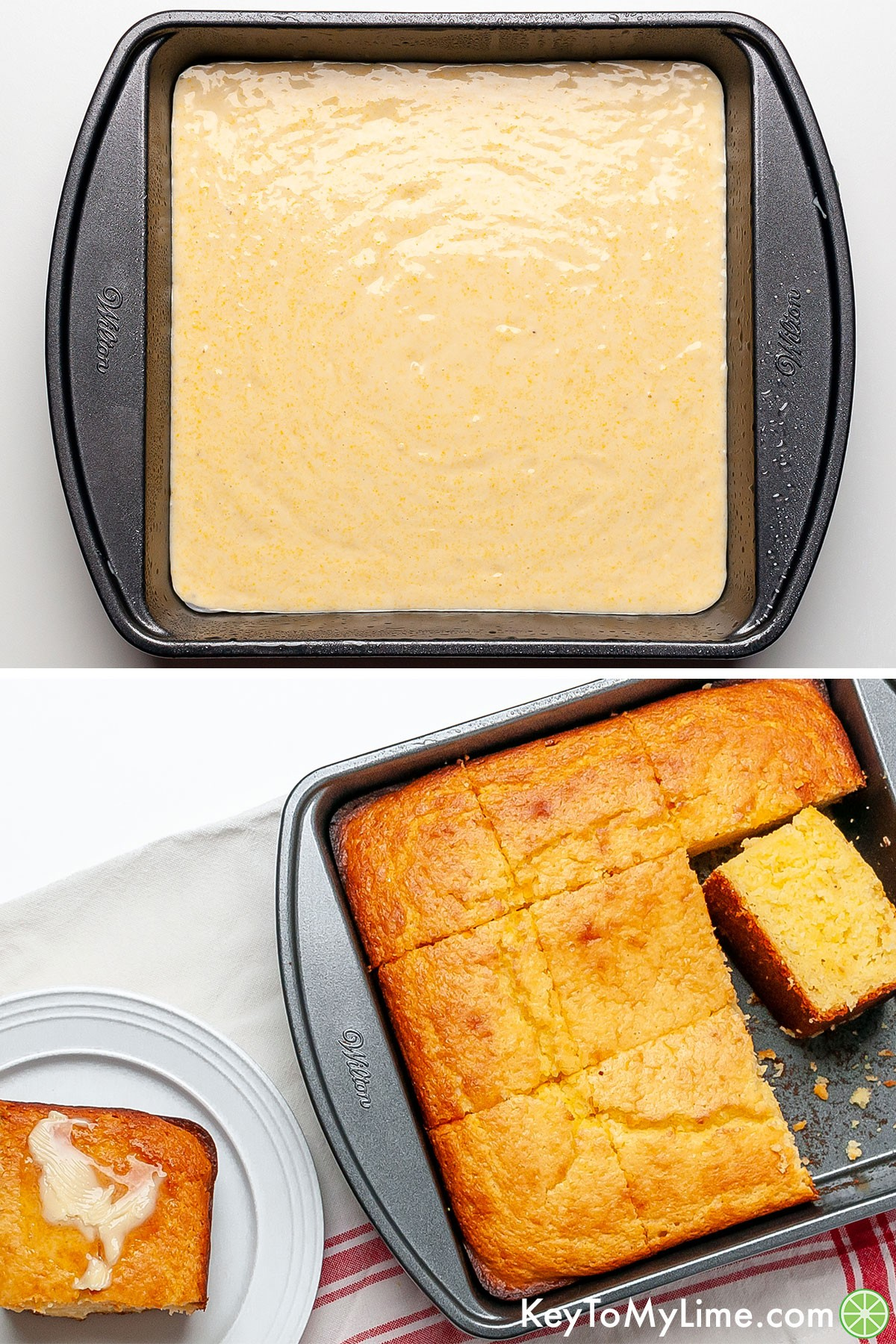 A process collage showing Jiffy cornbread before and after baking.