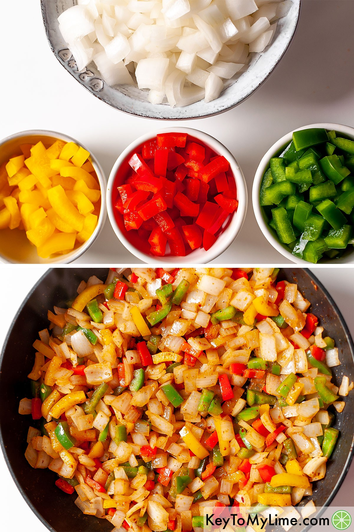 A process collage showing chopped onion and bell peppers before and after cooking.
