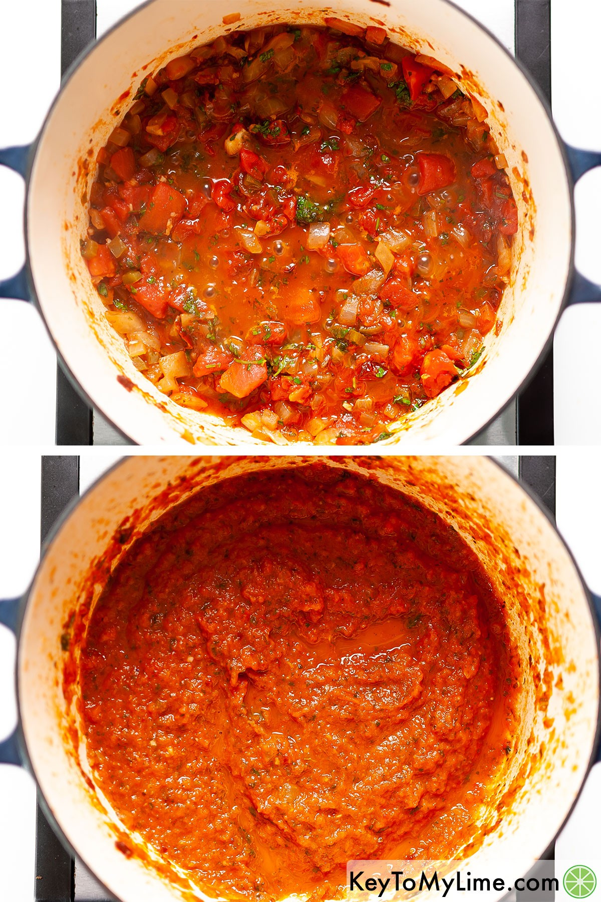 Before and after blending ranchero sauce.
