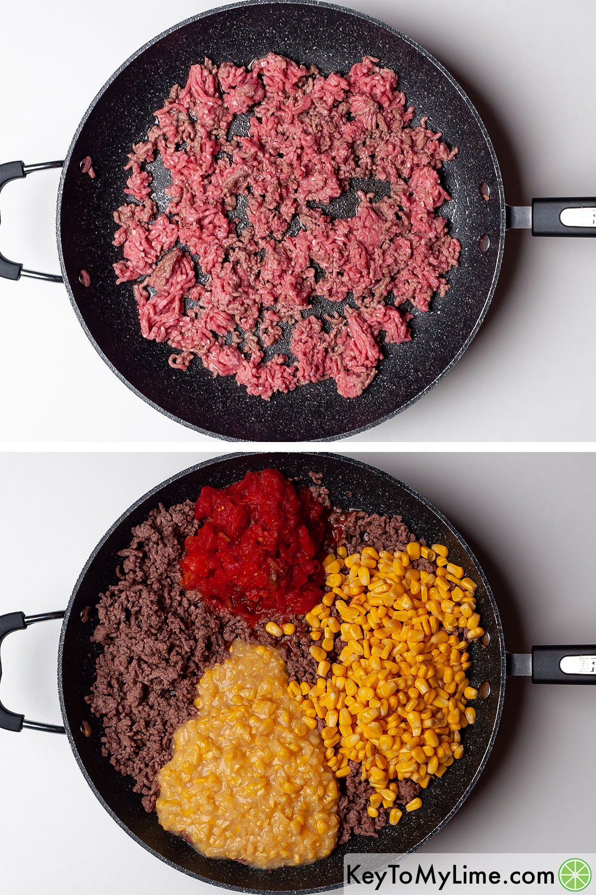 Browning ground beef, then adding corn and RO-TEL.