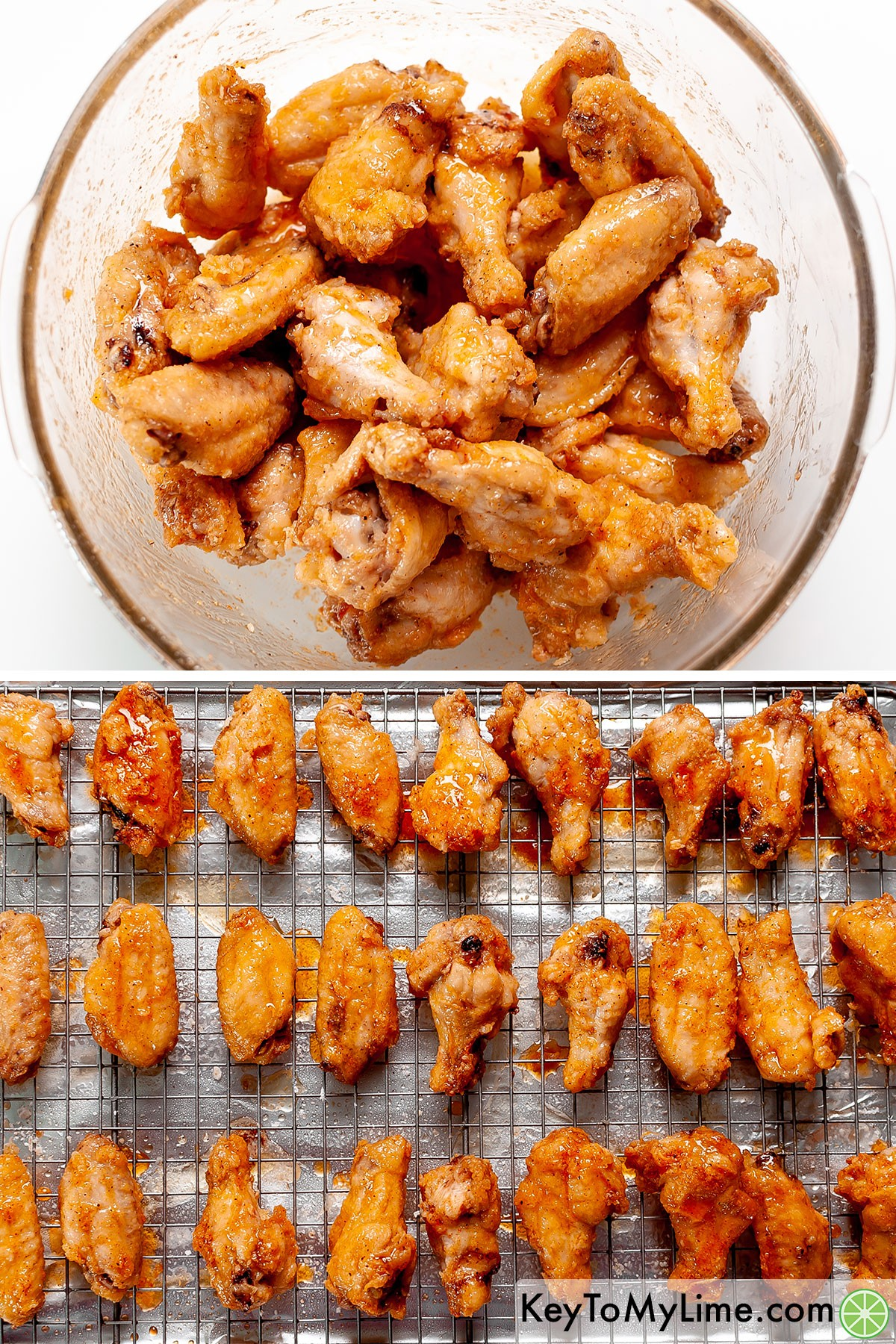 Coating cooked wings in garlic butter sauce, then baking them a second time.