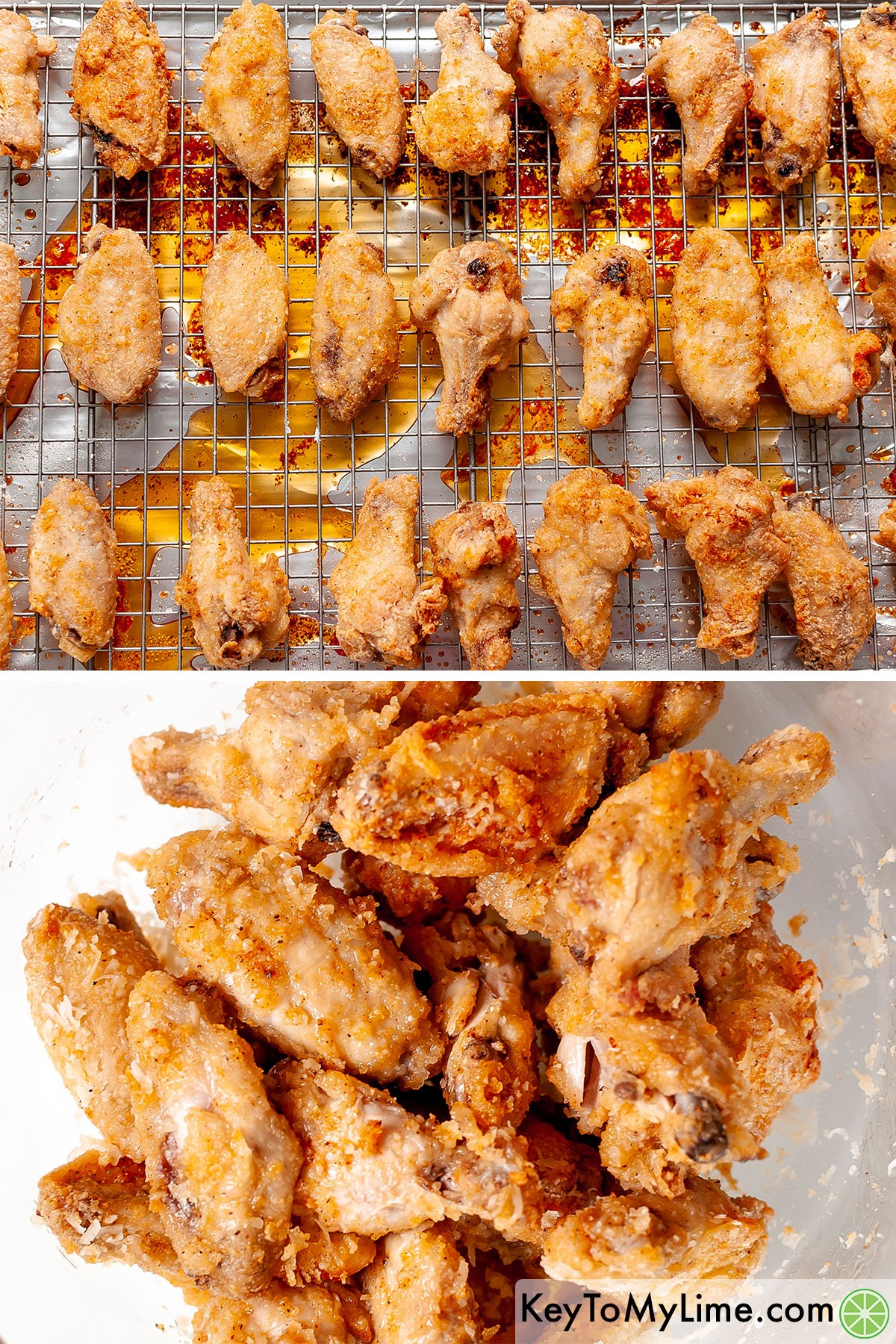 Coating cooked chicken wings in freshly grated parmesan.