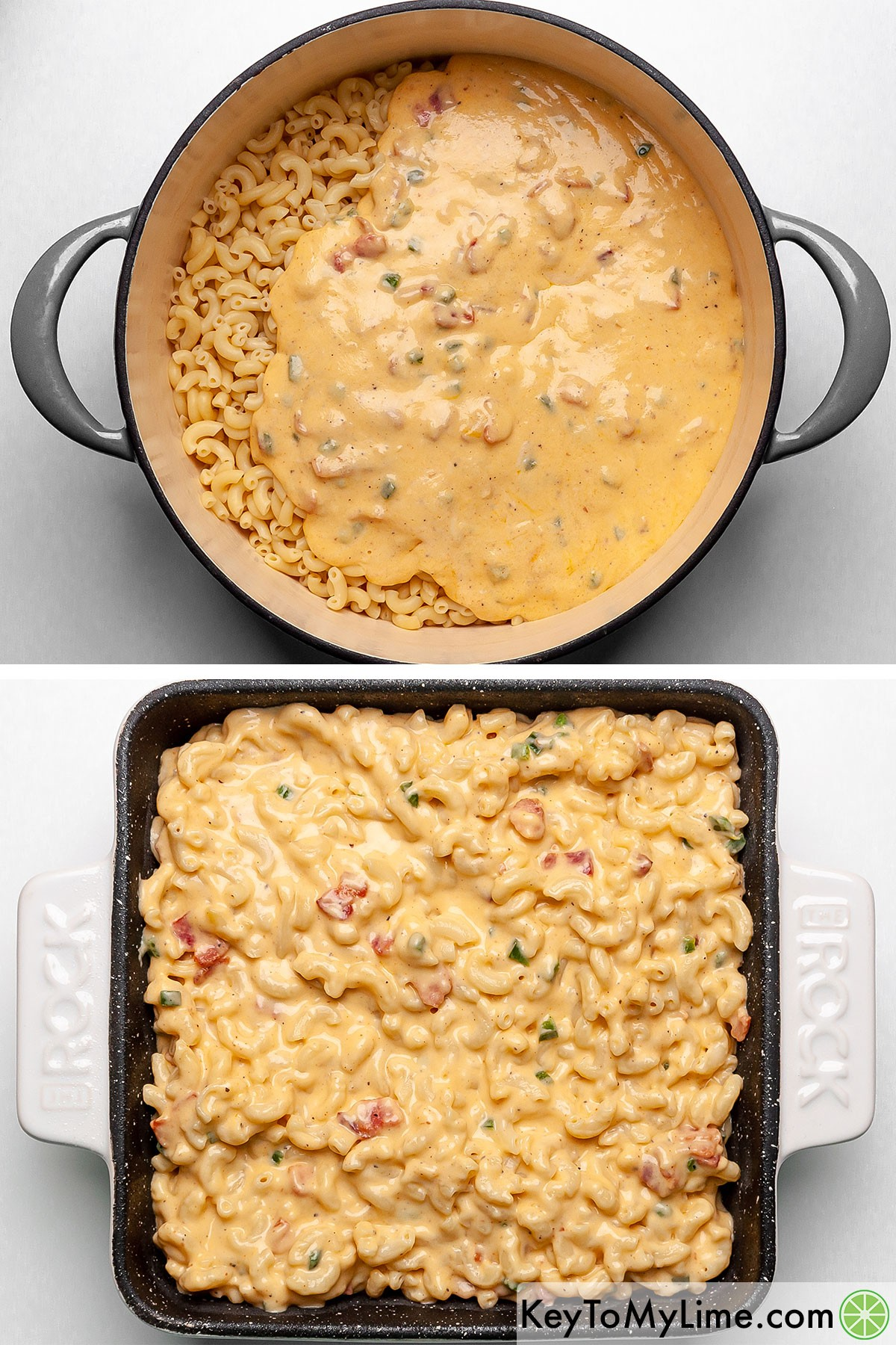 Tossing pasta with jalapeno bacon cheese sauce and then pouring it in a baking dish.