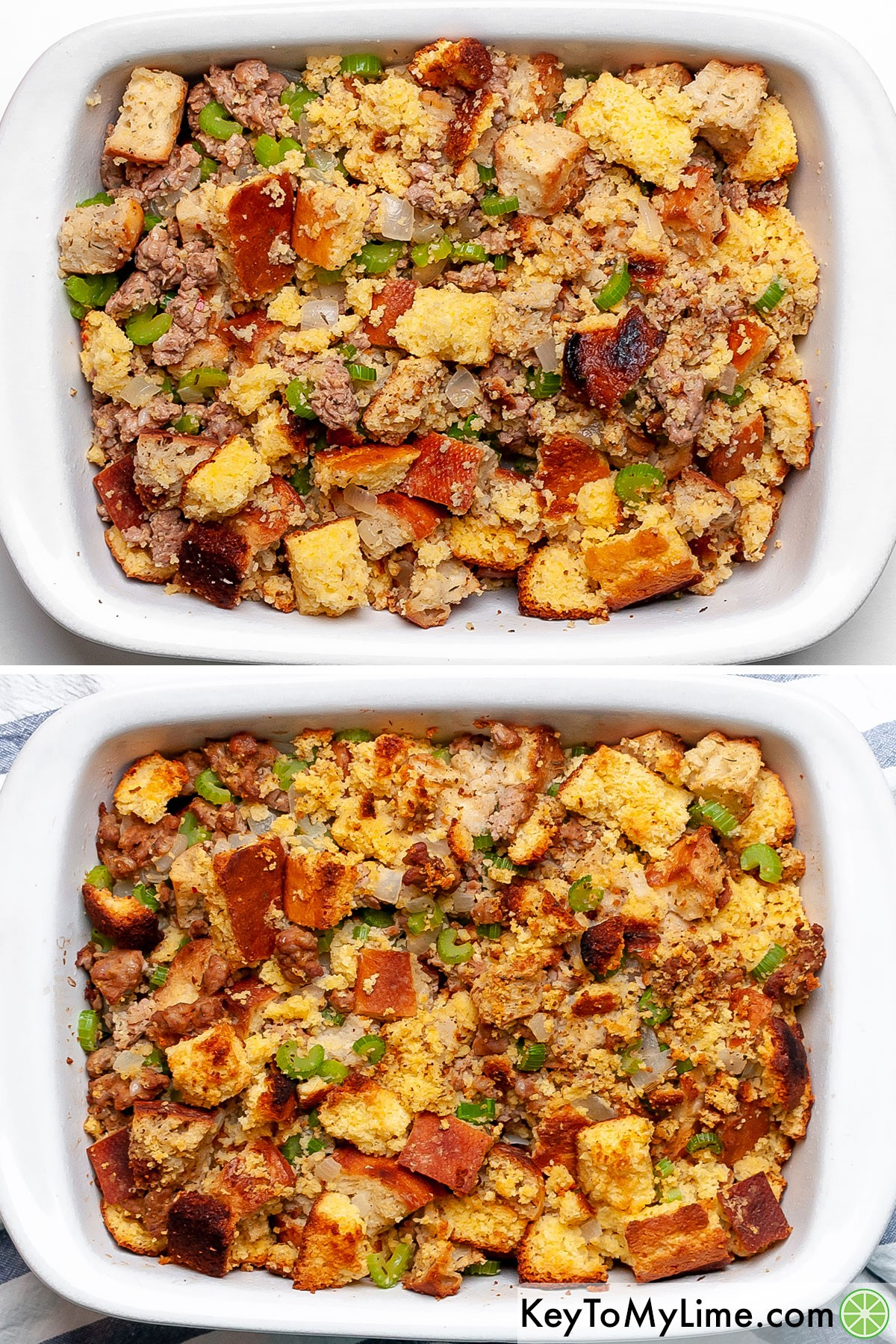 A process collage showing cornbread dressing before and after cooking.