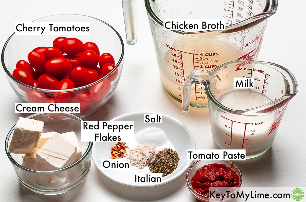 The labeled ingredients for creamy tomato pasta sauce.