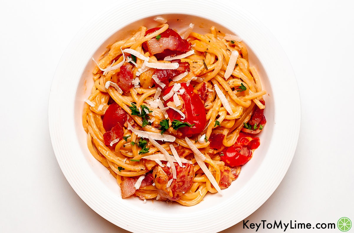 An overhead image of bacon pasta in a bowl.