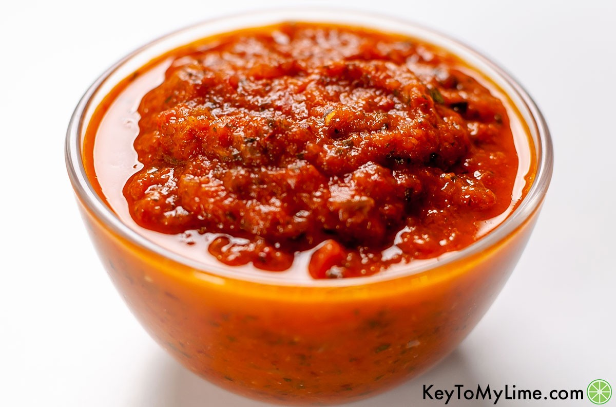 A side image of a bowl of ranchero sauce.