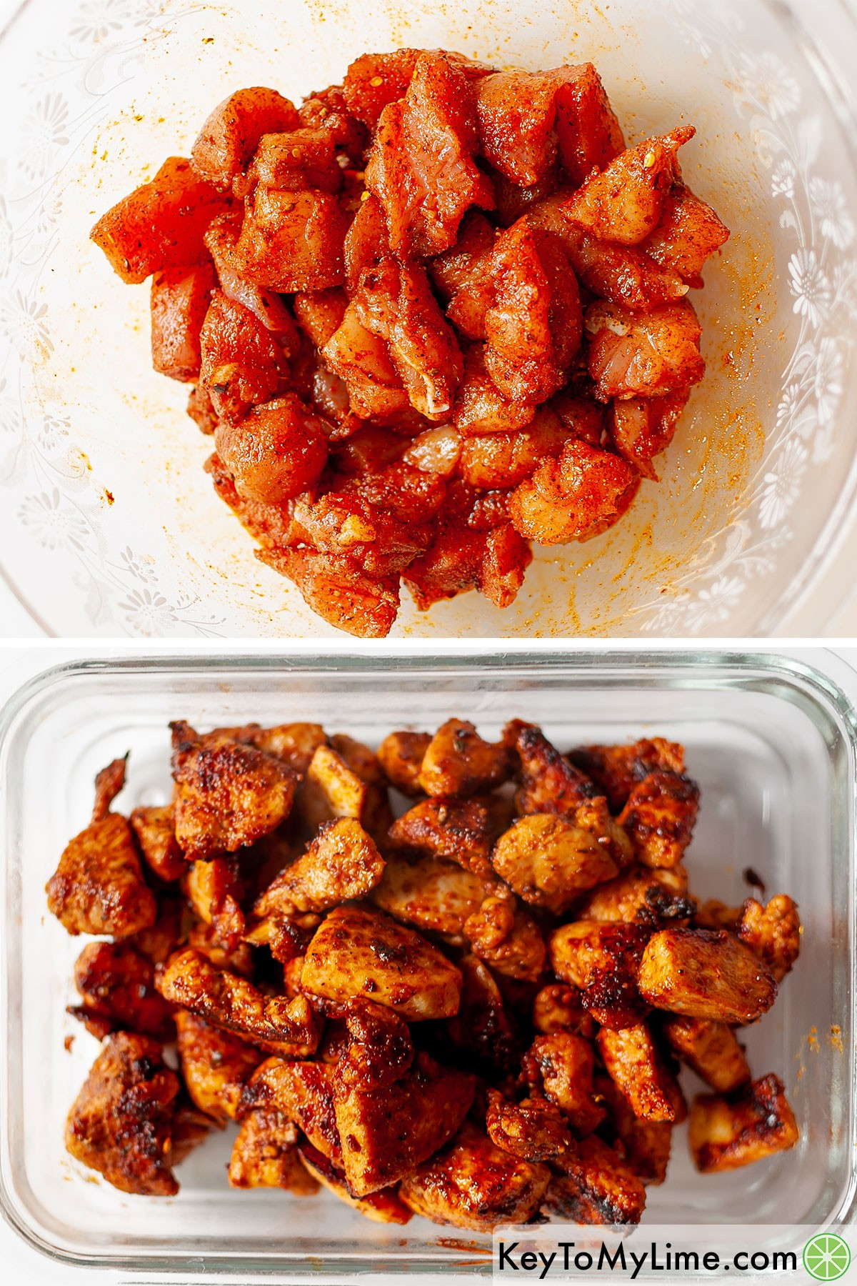 Fajita chicken breast chunks before and after cooking.