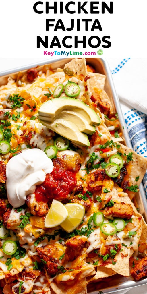 A Pinterest pin image of fajita nachos with title text at the top.