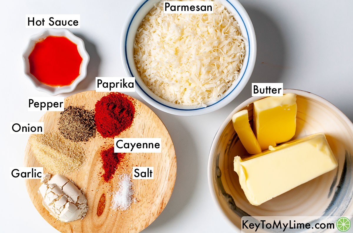 The labeled ingredients for garlic parmesan wing sauce.