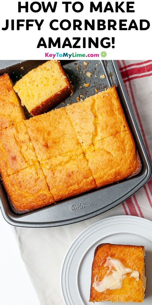 A Pinterest pin image of the best Jiffy cornbread with title text.