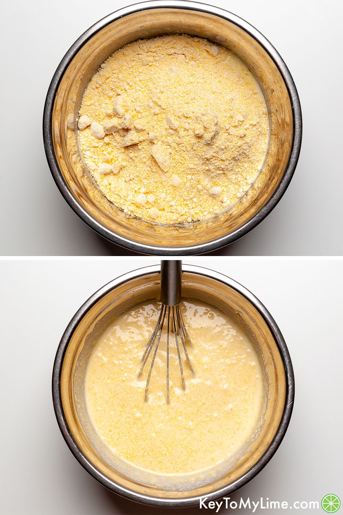 A process collage showing adding in cornbread mix to the liquid ingredients.