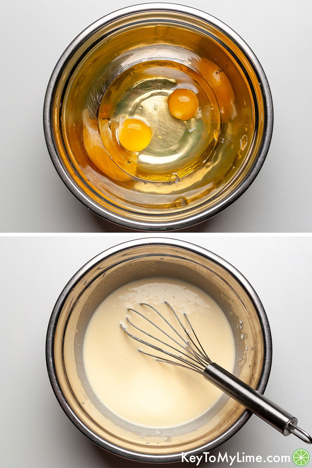 A process collage showing whisking eggs, oil, honey, and milk together.