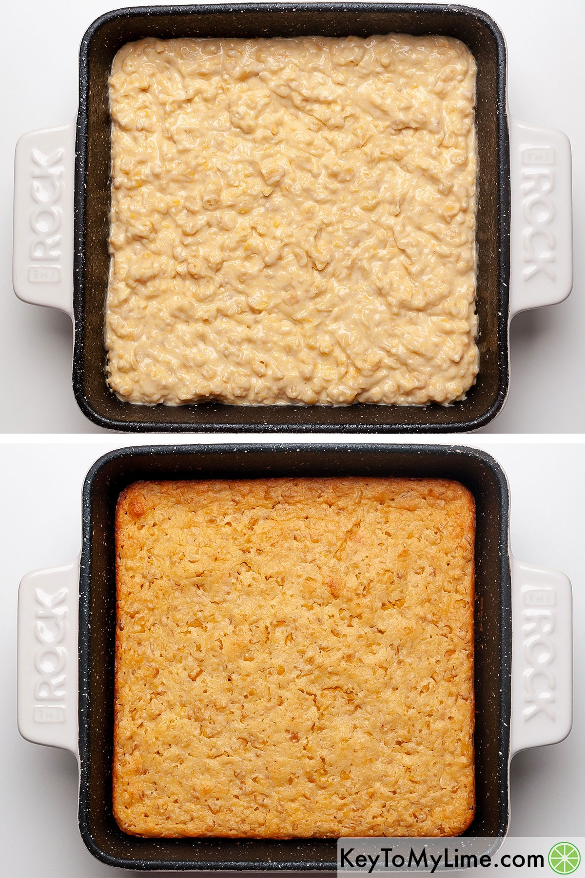 Jiffy corn casserole before and after baking.
