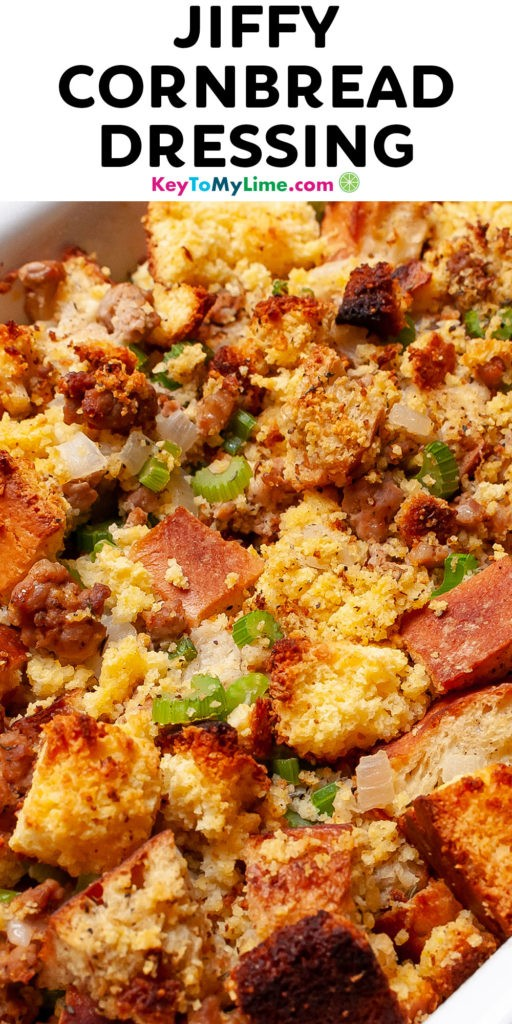A Pinterest pin image of cornbread dressing with title text at the top.