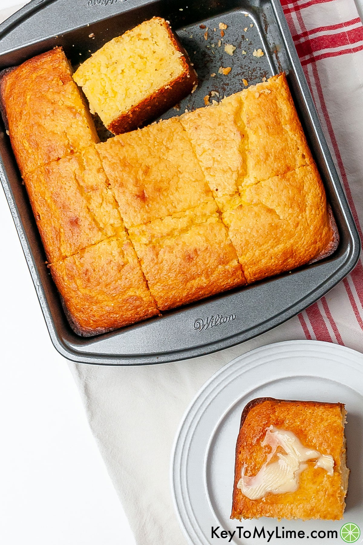 The best ever moist and fluffy Jiffy cornbread in a baking dish.