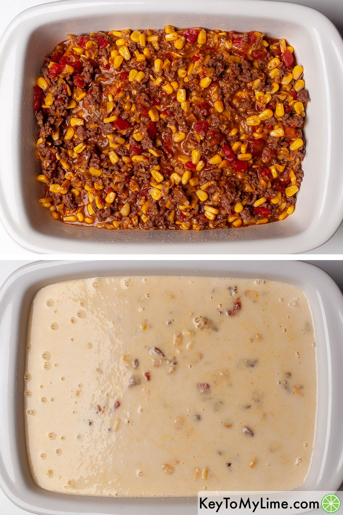 Layering Mexican ground beef in a casserole dish, then pouring cornbread batter on top.