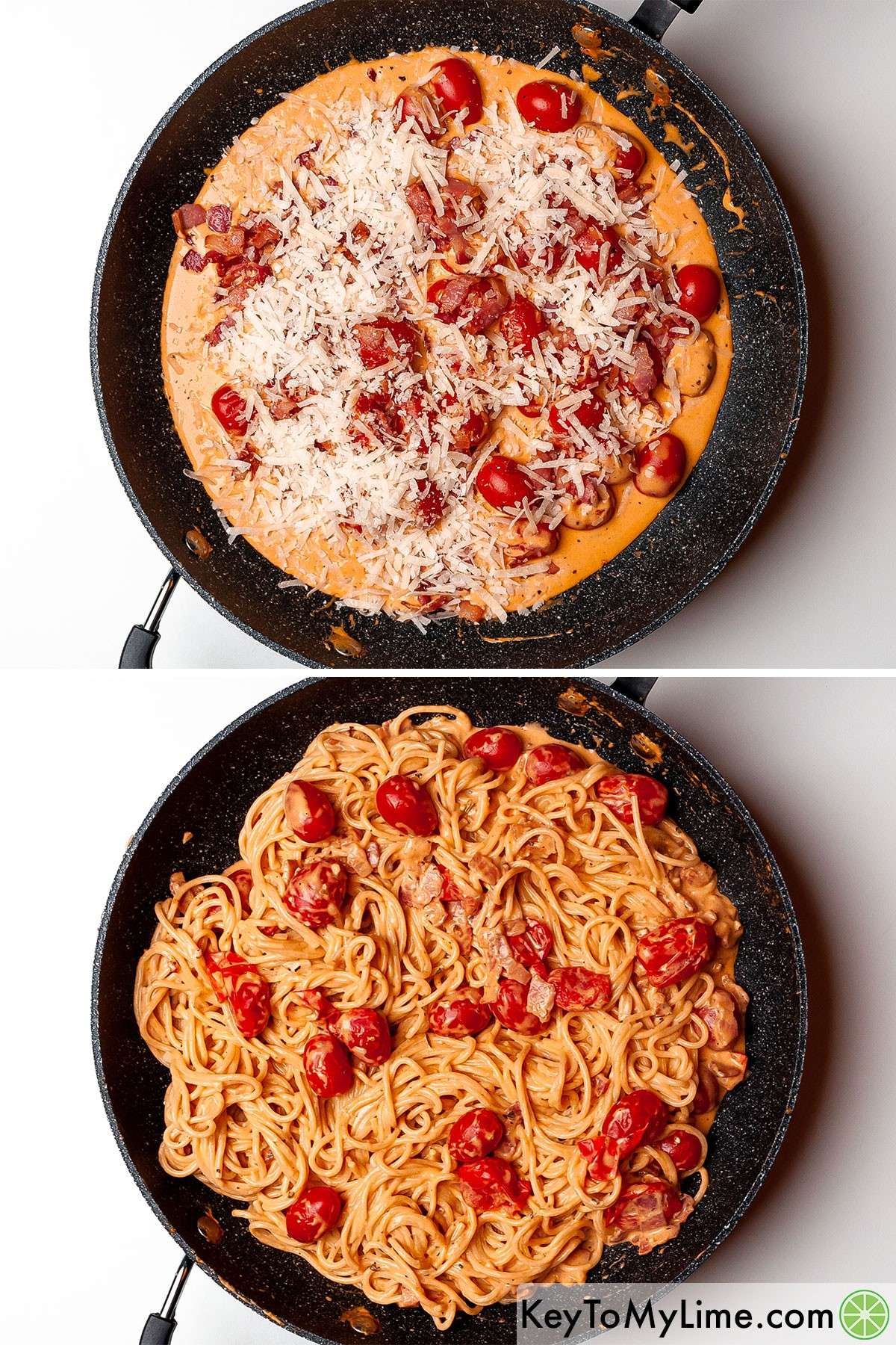 A process collage showing mixing parmesan into creamy tomato sauce and then tossing pasta and crispy bacon in the sauce.