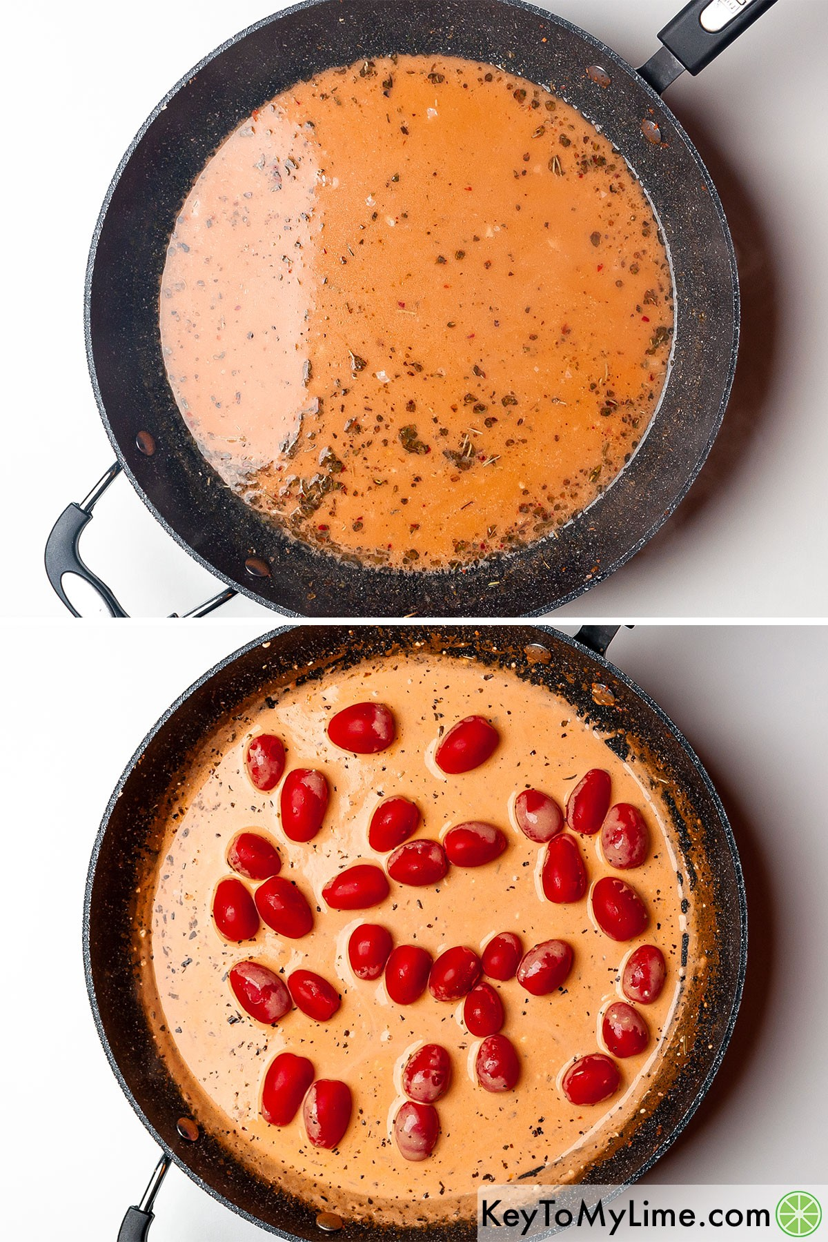 A process collage showing making creamy tomato sauce.