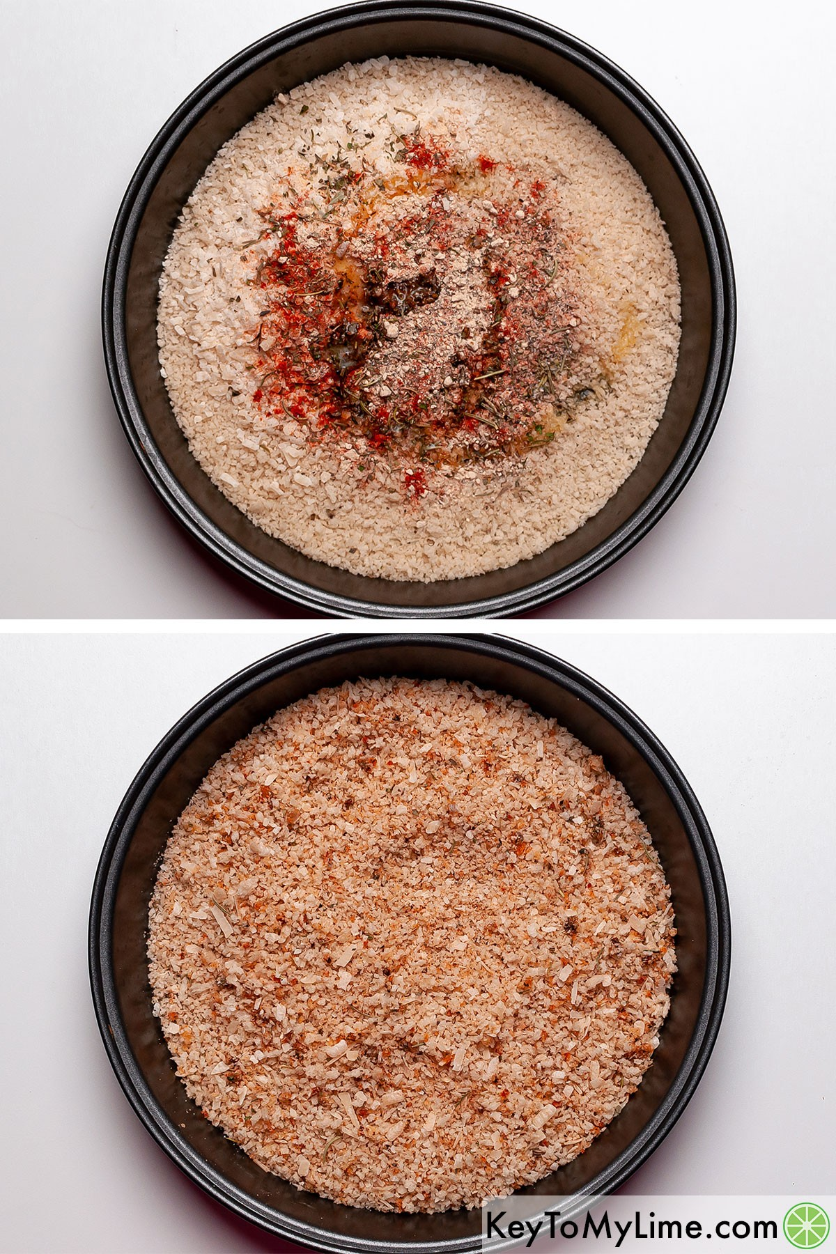 Mixing together the panko chicken coating.