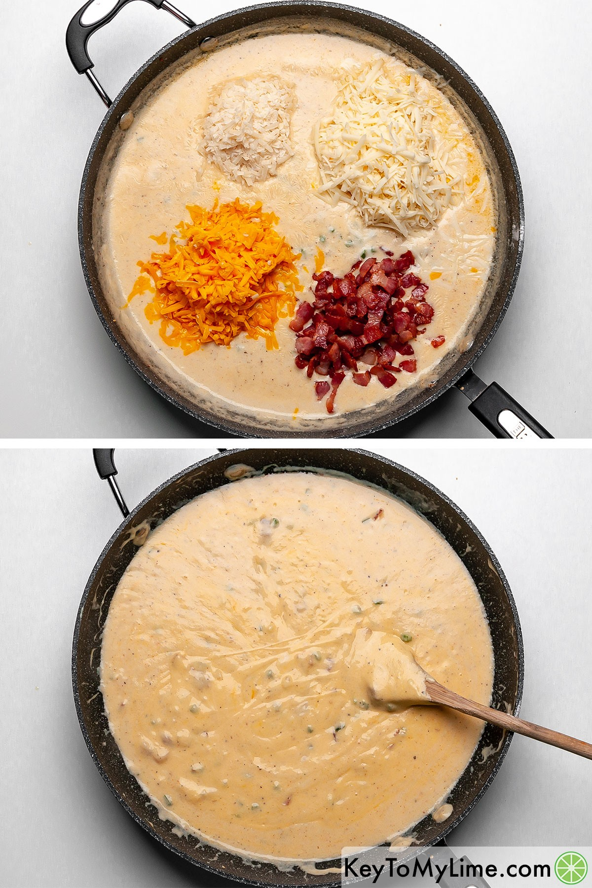 Stirring cooked bacon pieces and three types of shredded cheese into mac and cheese sauce.