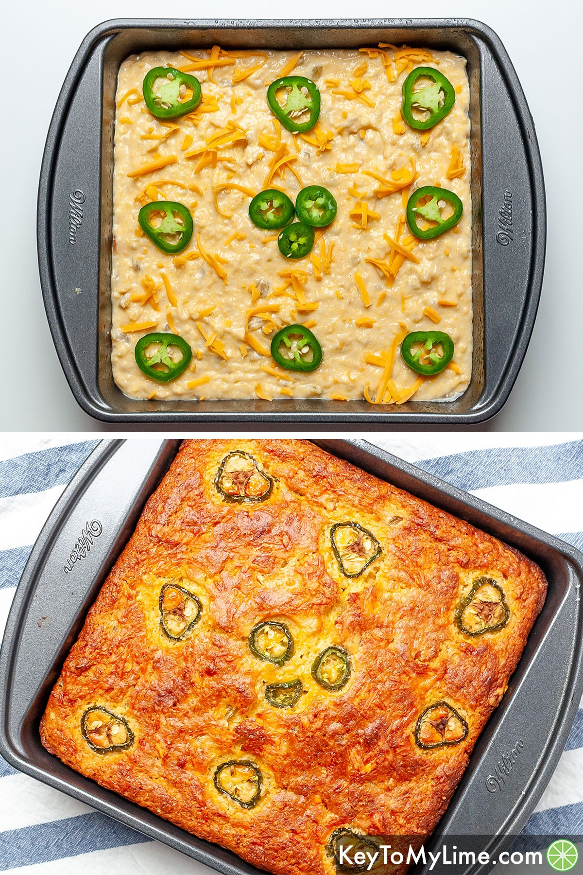 A process collage showing Mexican cornbread before and after baking.