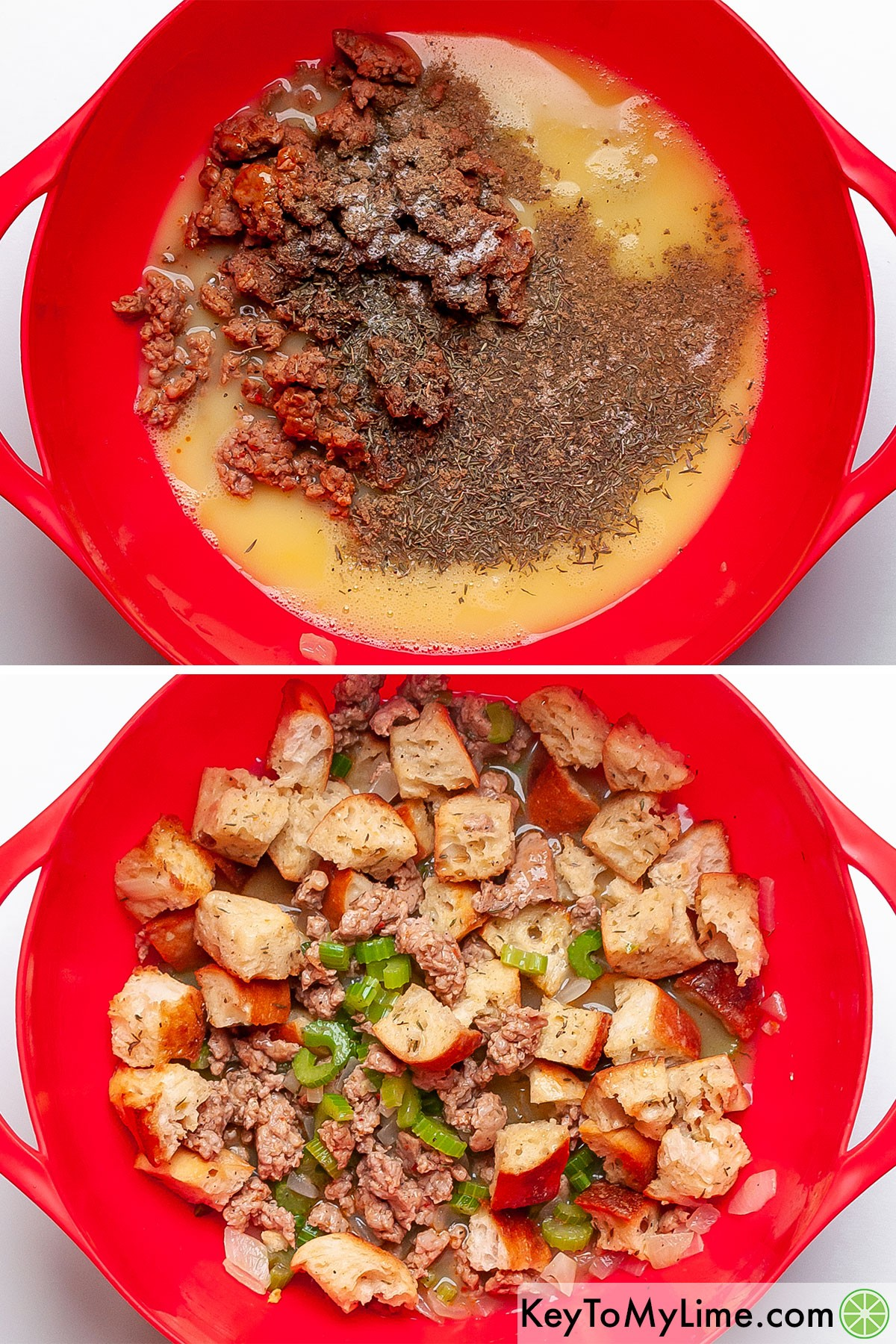 A process collage showing mixing together the ingredients for cornbread dressing.