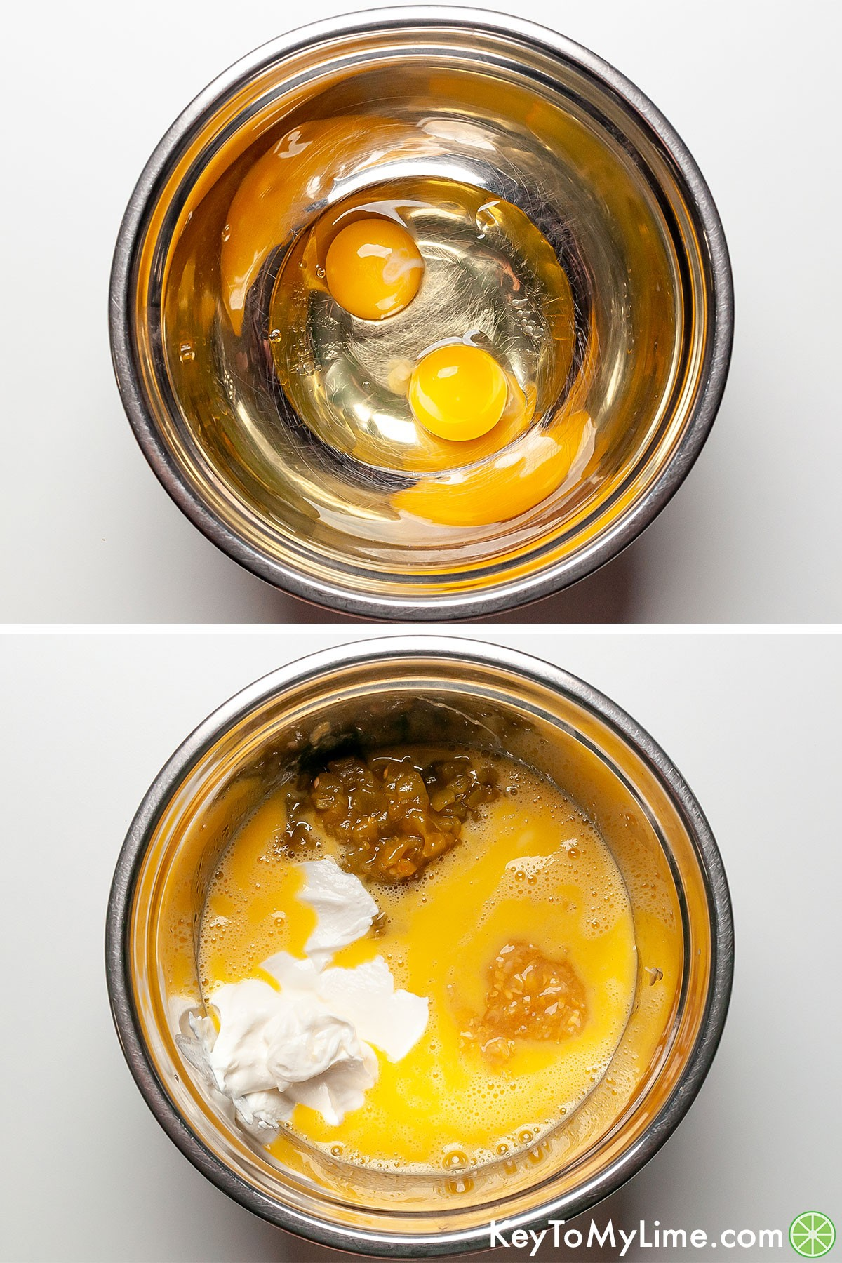A process collage showing mixing the wet ingredients for Mexican cornbread.