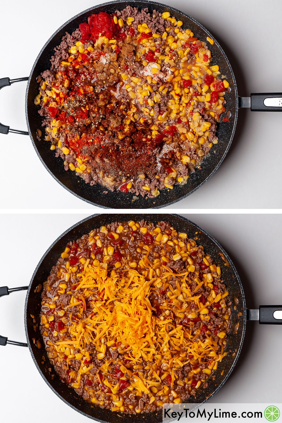 Mixing taco seasoning and shredded cheddar cheese into browned ground beef.