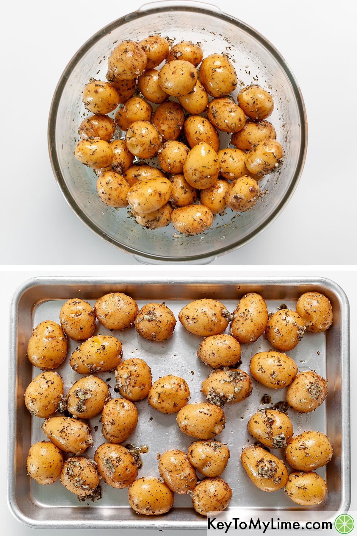Oiling baby potatoes and then placing them on a baking tray.