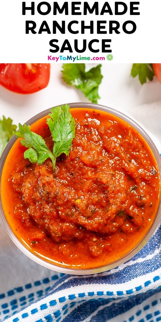 A Pinterest pin image of ranchero sauce with title text at the top.