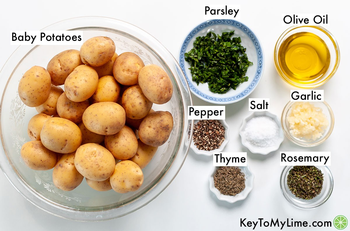 Roasted baby potatoes ingredients labeled.