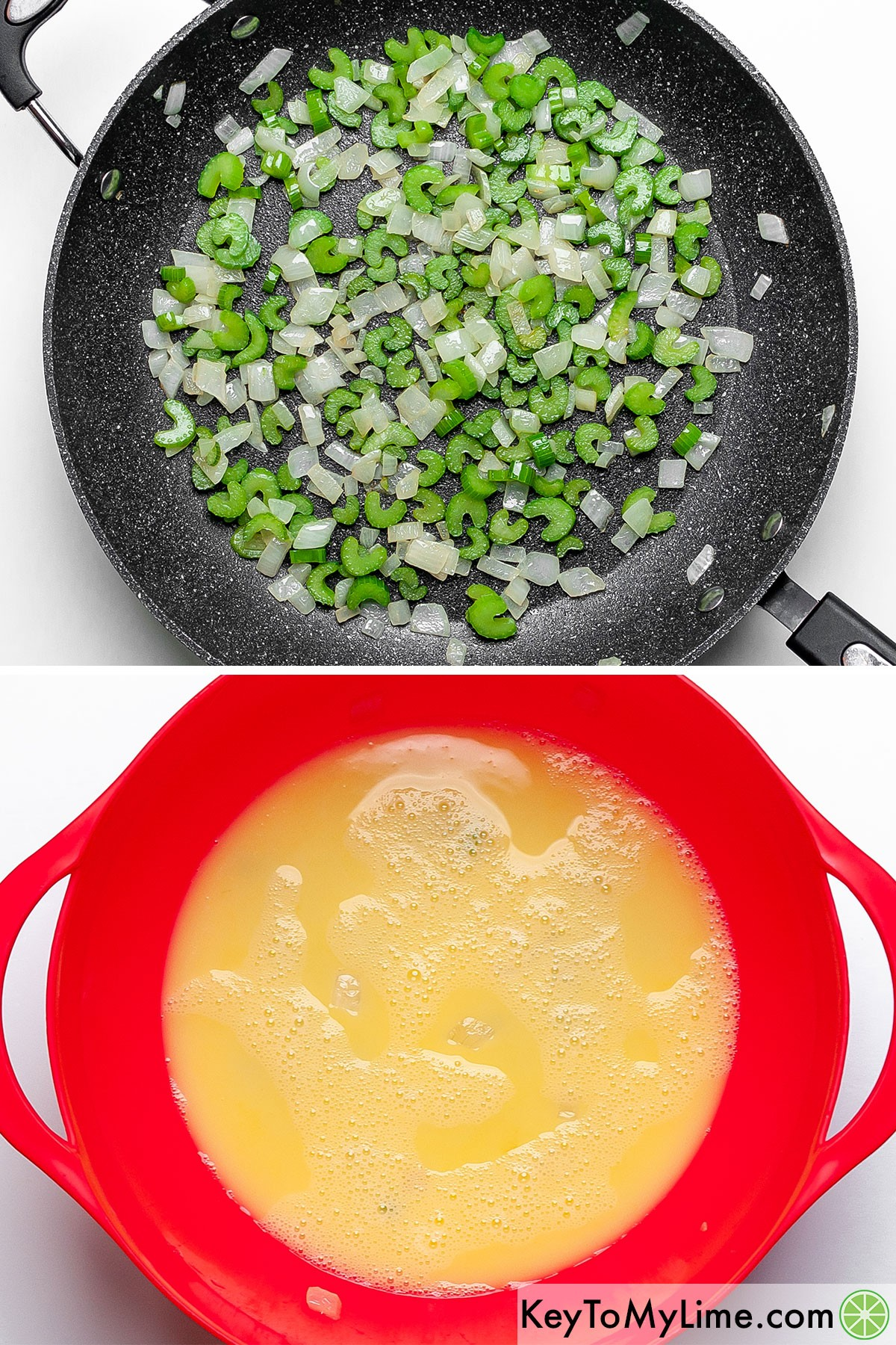 A process collage showing sauteing celery and onions, and mixing together chicken broth and eggs.